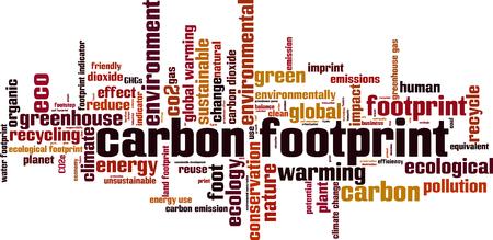 dioxido de carbono: La huella de carbono concepto de nube de palabras. Ilustración vectorial Vectores