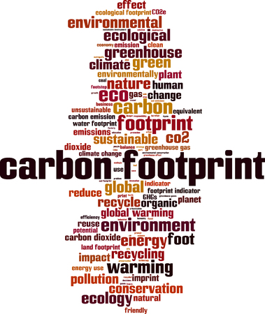 unsustainable: Carbon footprint word cloud concept. Vector illustration