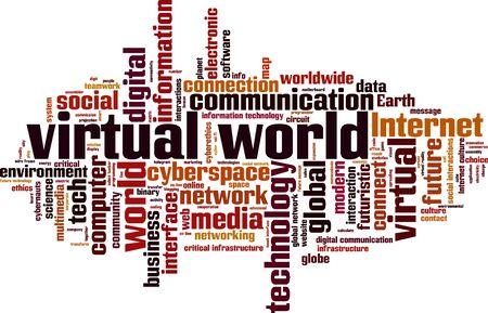 virtual world: Virtual world word cloud concept. Vector illustration Illustration