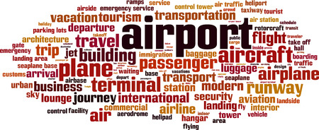 aerodrome: Airport word cloud concept. Vector illustration