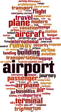 Airport word cloud concept. Vector illustration