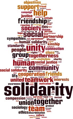 racial: Solidarity word cloud concept. Vector illustration