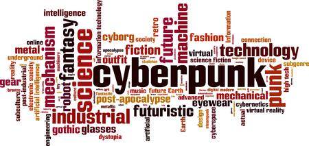 Cyberpunk word cloud concept. Vector illustration