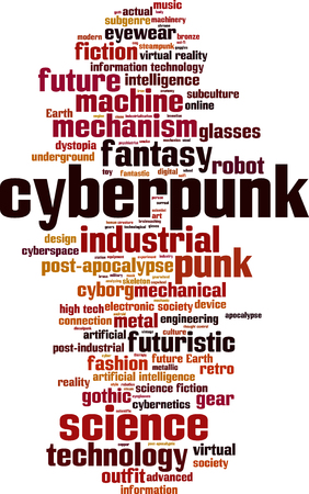 cyberpunk: Cyberpunk word cloud concept. Vector illustration