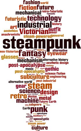 apocalyptic: Steampunk word cloud concept. Vector illustration