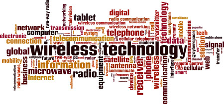 pda: Wireless technology word cloud concept. Vector illustration