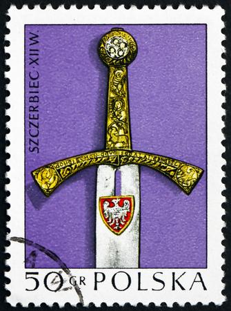 12th century: POLAND - CIRCA 1973: a stamp printed in Poland shows Piast, Coronation Sword, 12th Century, circa 1973