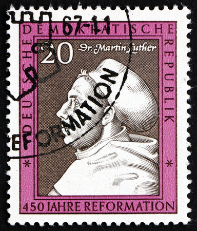 reformation: GERMANY - CIRCA 1967: a stamp printed in Germany shows Martin Luther, Painting by Lucas Cranach, 450th Anniversary of the Reformation, circa 1967