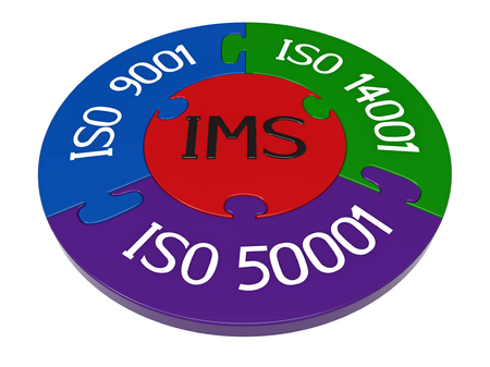 Integrated management system, combination of ISO 9001, ISO 14001 and ISO 50001, 3D render, isolated on white