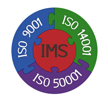 ems: Integrated management system, combination of ISO 9001, ISO 14001 and ISO 50001, 3D render, isolated on white