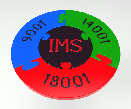norm: Integrated management system, combination of ISO 9001, ISO 14001 and OHSAS 18001, 3D render, isolated on white