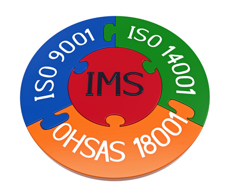 Integrated management system, combination of ISO 9001, ISO 14001 and OHSAS 18001, 3D render, isolated on white