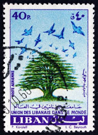 emigranti: LIBANO - CIRCA 1960: un francobollo stampato in Libano mostra cedro e uccelli, Unione di emigranti libanesi nel mondo, circa 1960 Editoriali