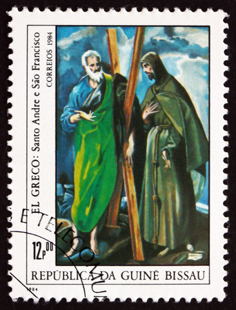 greco: GUINEA-BISSAU - CIRCA 1984: a stamp printed in Guinea-Bissau shows Saints Andrew and Francis, Painting by El Greco, circa 1984