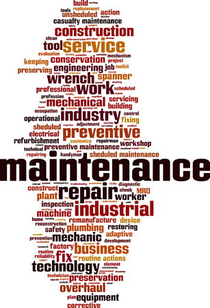 corrective: Maintenance word cloud concept. Vector illustration