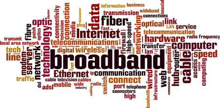 highspeed: Broadband word cloud concept. Vector illustration