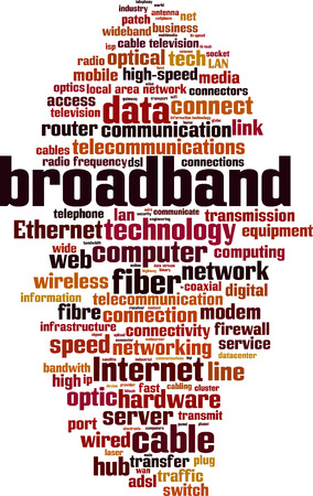 bandwith: Broadband word cloud concept. Vector illustration