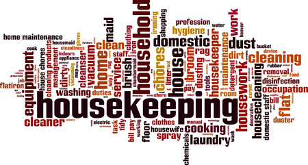 domestic staff: Housekeeping word cloud concept. Vector illustration Illustration