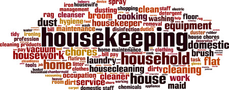 household tasks: Housekeeping word cloud concept. Vector illustration Illustration