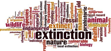 extinction: Extinction word cloud concept. Vector illustration