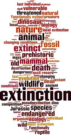 organisms: Extinction word cloud concept. Vector illustration