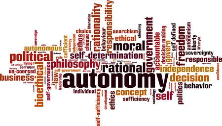 autonomia: Autonomía palabra concepto de nube. Ilustración vectorial Vectores