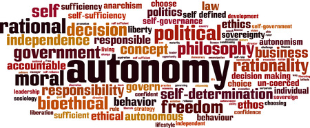 rationality: Autonomy word cloud concept. Vector illustration
