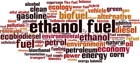 sugarcane: Ethanol fuel word cloud concept. Vector illustration Illustration