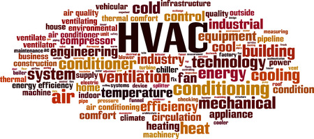 cloud tag: HVAC word cloud concept. Vector illustration