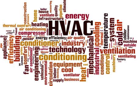 eficiencia: HVAC palabra concepto de nube. Ilustración vectorial
