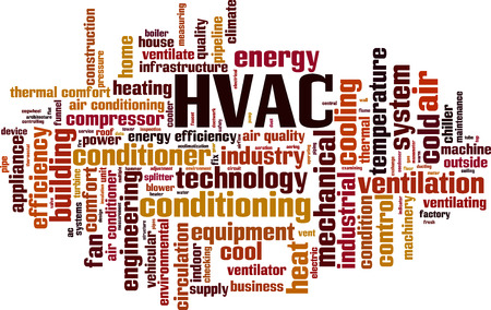 chiller: HVAC word cloud concept. Vector illustration