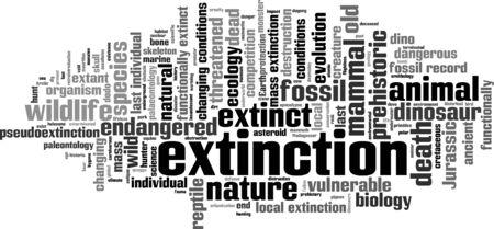 vulnerable: Extinction word cloud concept. Vector illustration