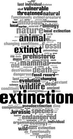 extinction: Extinction word cloud concept. Vector illustration