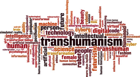 beings: Transhumanism word cloud concept. Vector illustration