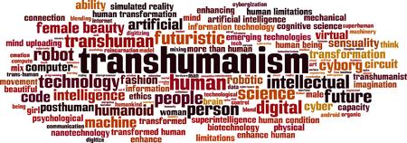 limitations: Transhumanism word cloud concept. Vector illustration