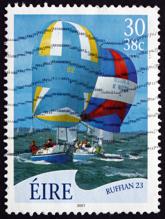 ruffian: IRELAND - CIRCA 2001: A stamp printed in Ireland shows Ruffian 23, Sailboat, circa 2001