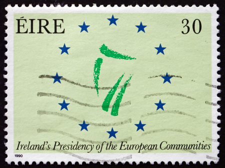 presidency: IRELAND - CIRCA 1990: A stamp printed in Ireland dedicated to Irelands presidency of the European Communities, circa 1990 Editorial