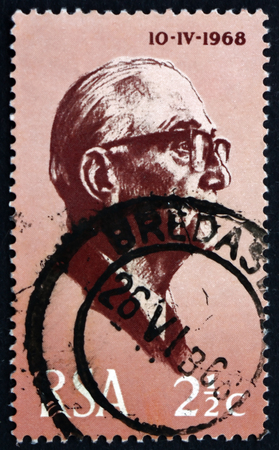 johannes: SOUTH AFRICA - CIRCA 1968: a stamp printed in South Africa shows President Jacobus Johannes Fouche, served as the second State President from 1975 to 1978, circa 1968 Editorial