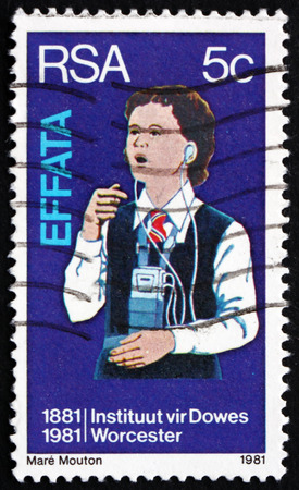 centenary: SOUTH AFRICA - CIRCA 1981: a stamp printed in South Africa shows Deaf Girl Learning to Speak, Institute for the Deaf and Blind, Worcester, Centenary, circa 1981 Editorial