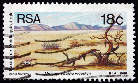 south africa soil: SOUTH AFRICA - CIRCA 1990: a stamp printed in South Africa shows Desertification, Soil Conservation Campaign, circa 1990