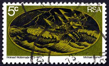 heroism: SOUTH AFRICA - CIRCA 1973: a stamp printed in South Africa shows Sinking Ship in the Storm, Bicentenary of Wolraad Woltermades Heroism, circa 1973 Editorial