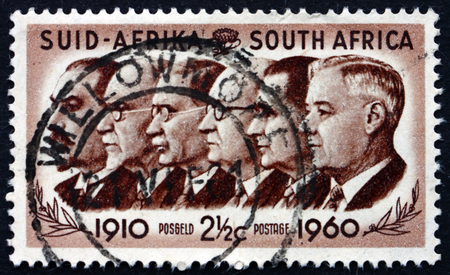 smuts: SOUTH AFRICA - CIRCA 1960: a stamp printed in South Africa shows Prime Ministers Botha, Smuts, Hertzog, Malan, Strydom and Verwoerd, 50th Anniversary of the Founding of the Union, circa 1960 Editorial