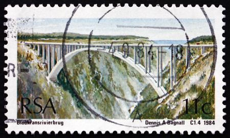 natures: SOUTH AFRICA - CIRCA 1984: a stamp printed in South Africa shows Bloukrans River Bridge, is an Arch Bridge Located near Natures Valley, Western Cape, circa 1984
