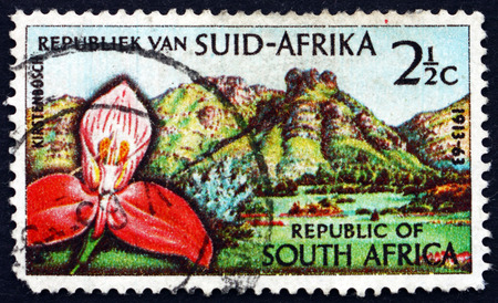 castle rock: SOUTH AFRICA - CIRCA 1963: a stamp printed in South Africa shows Red Disa Orchid, Castle Rock and Kirstenbosch Botanic Gardens, Cape Town, circa 1963