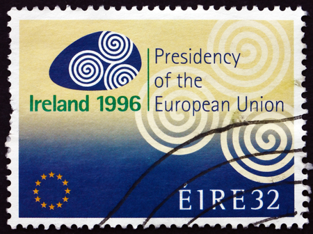 presidency: IRELAND - CIRCA 1996: A stamp printed in Ireland dedicated to Irelands presidency of the European Union, circa 1996
