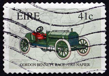 bennett: IRELAND - CIRCA 2003: A stamp printed in Ireland shows Race Map and Napier, 1903 Automobile, Centenary of the Gordon Bennett Race in Ireland, circa 2003