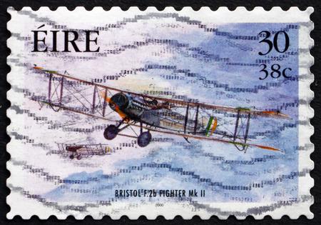 mk: IRELAND - CIRCA 2000: A stamp printed in Ireland shows Bristol F.2b Mk II Fighter, Military Aircraft, circa 2000