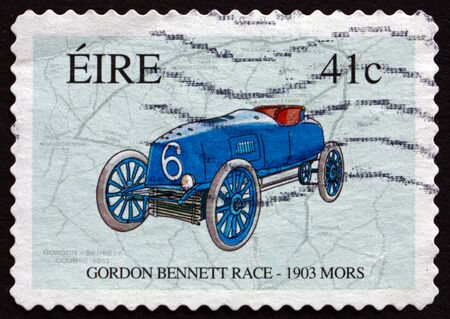 centenary: IRELAND - CIRCA 2003: A stamp printed in Ireland shows Race Map and Mors, 1903 Automobile, Centenary of the Gordon Bennett Race in Ireland, circa 2003 Editorial
