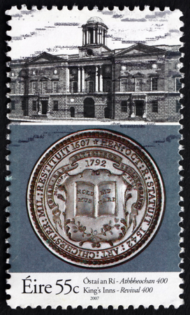 honorable: IRELAND - CIRCA 2007: a stamp printed in Ireland dedicated to Revival of Honorable Society of King's Inns, Ireland's Oldest School of Law, 400th Anniversary, circa 2007