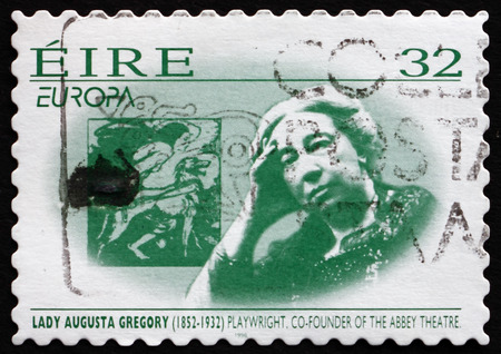 dramatist: IRELAND - CIRCA 1996: A stamp printed in Ireland shows Lady Augusta Gregory, Playwright, Co-founder of Abbey Theatre, circa 1996